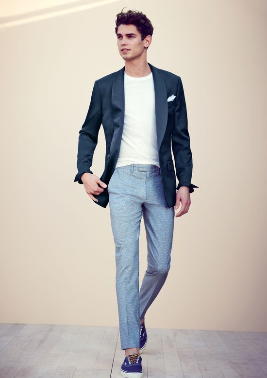 Men's Navy Blazer, White Crew-neck T-shirt, Light Blue Dress Pants .