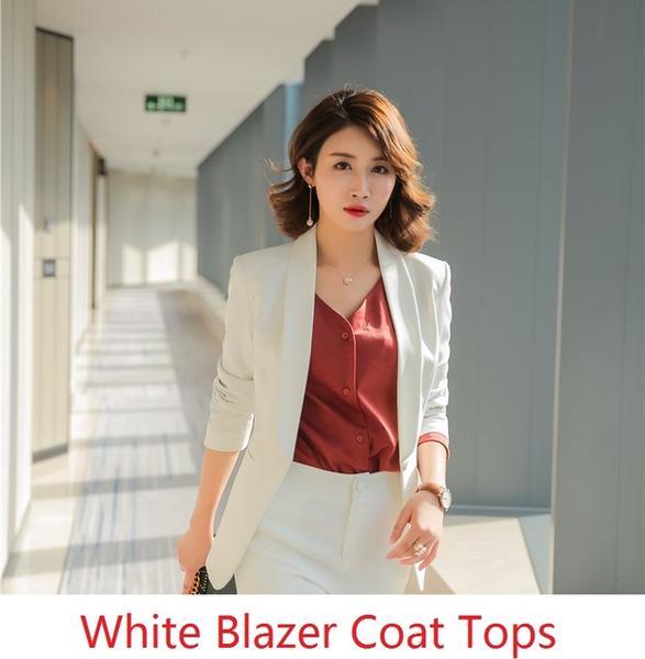 Formal Office Uniform Designs Women Blazers and Jackets Elegant Whi