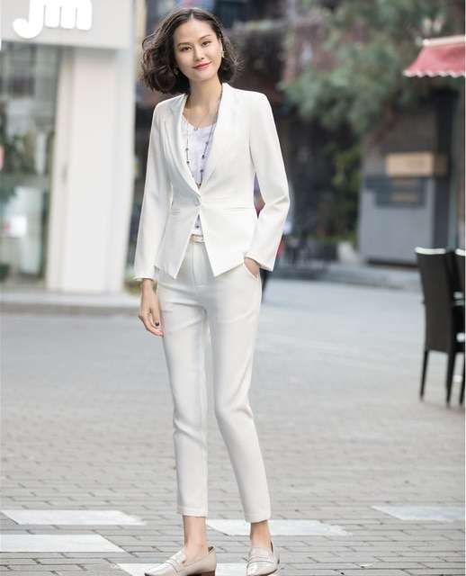 New Style White Blazer Women Business Suits Formal Office Suits .