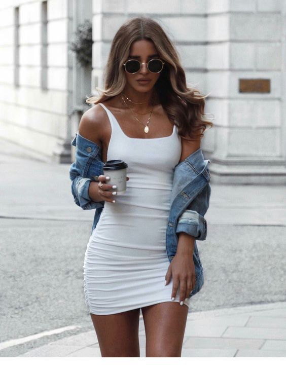 Very nice bodycon dress and denim jacket | Clothes, Fashion .