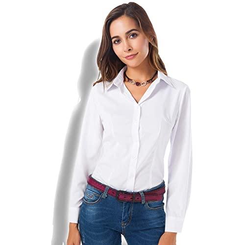 Womens White Button Up Shirt: Amazon.c