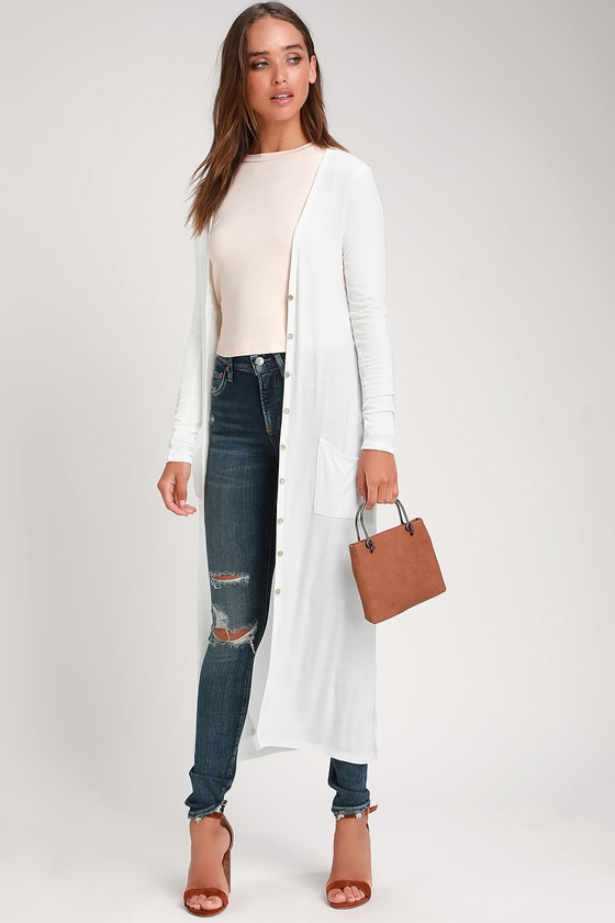 Chic White Cardigan Sweater - Longline Cardigan - Ribbed Dust