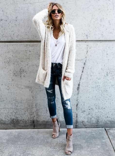 Solid Color Open Front Long Sleeve Hooded Cardigan Sweater .