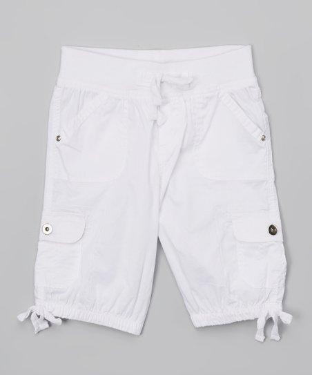 Chillipop White Cargo Shorts - Girls | Zuli