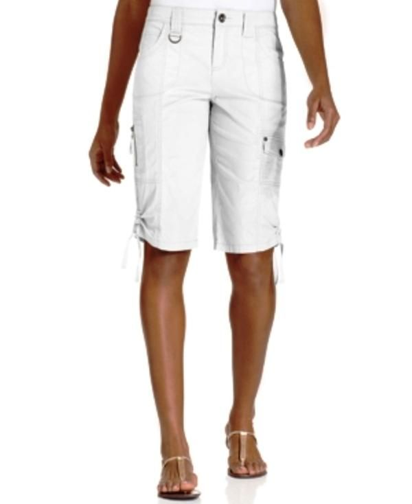 Style & Co Women's 8 Tummy Control Drawstring Leg Bermuda Cargo .