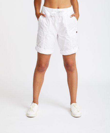 Tommy Hilfiger White Rolled Convertible Cargo Bermuda Shorts .