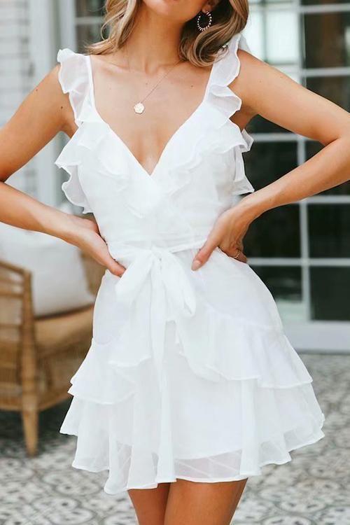 Day Date Ruffle Dress | Elegant white dress, Different dress .