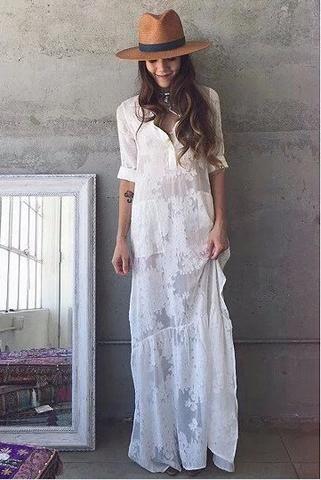 BOHO Slit Side Lace White Chiffon Maxi Beach Dress in 2019 | Boho .