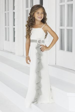 Charmeuse Ruffles,Straps Style 46 Junior Bridesmaid Dress by .