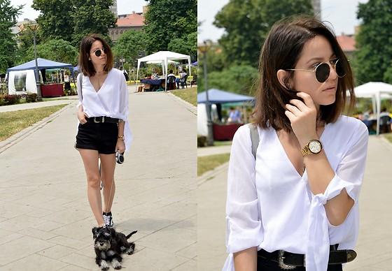 Marija M. - Shein White Chiffon Shirt, Zaful High Waisted Shorts .