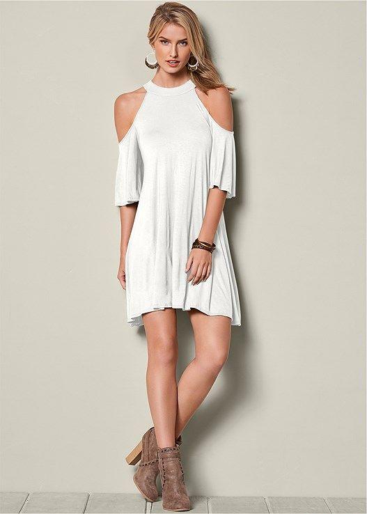 Venus Women's Cold Shoulder Dress - White, Size XS | Venus dresses .