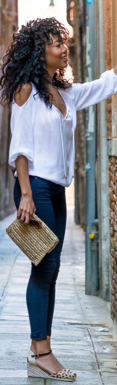 Blasiangurl White Cold Shoulder Top Outfit Idea | Cold shoulder .
