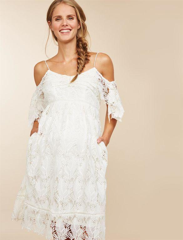 Cold Shoulder Lace Maternity Dress, Ivory | Short maternity .
