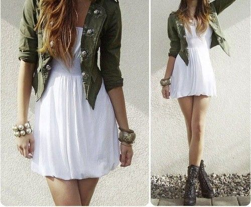 Military jacket with white dress and combat boots...... A little .
