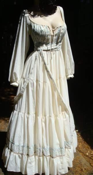 Vintage Gunne Sax Dress Hippie Corset Dress Fantasy Wedding Dress .