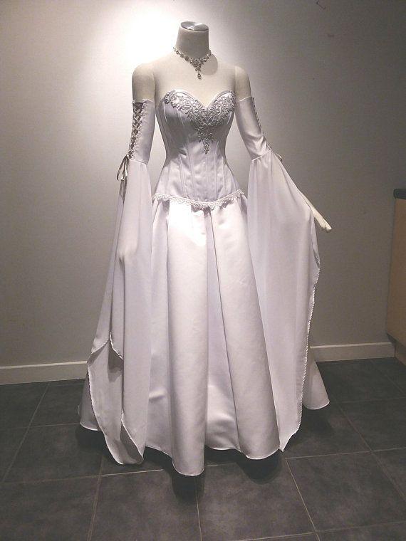 Elven wedding dress, corset dress, steel boned corset, elven dress .