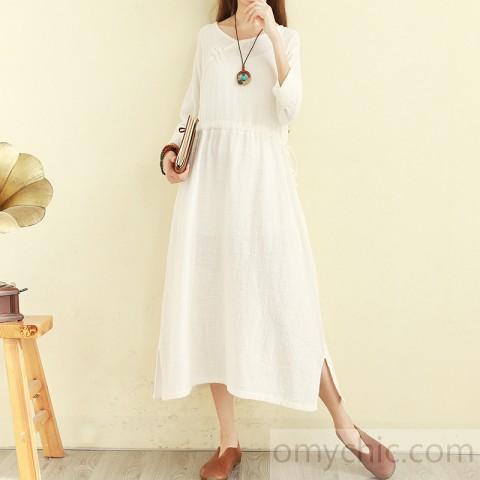 DIY v neck tie waist cotton linen clothes For Women Vintage .