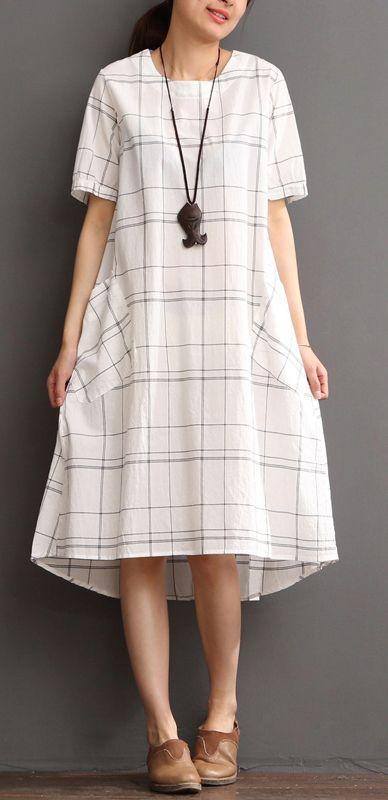 White cotton dress plaid sundress plus size summer maxi dress .