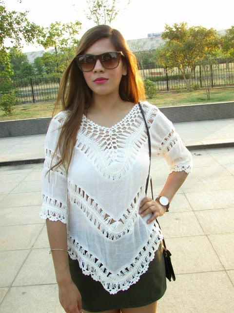 Go Boho- White Crochet T