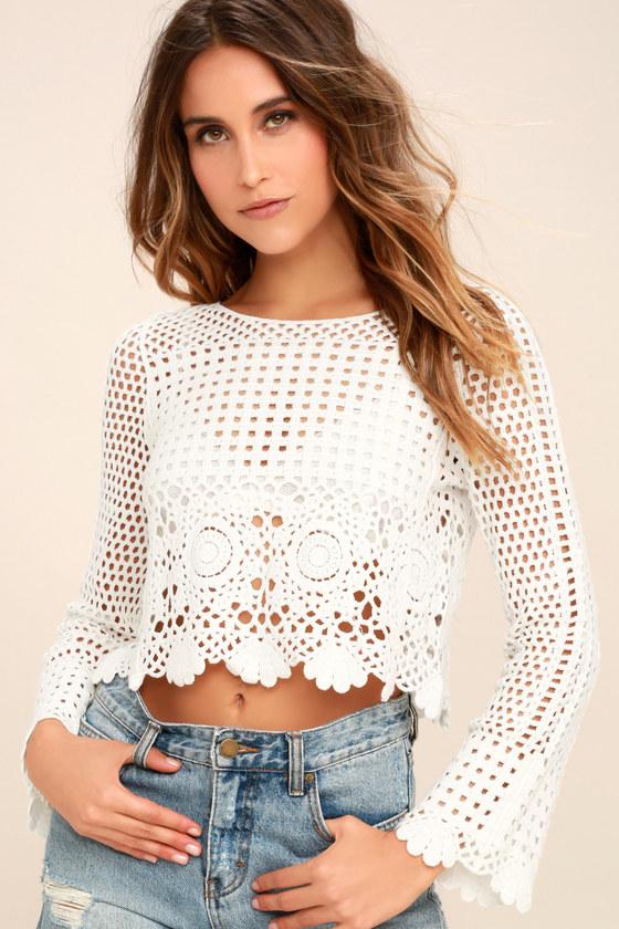 Crystal Grid White Crochet Long Sleeve Crop Top | White crochet .