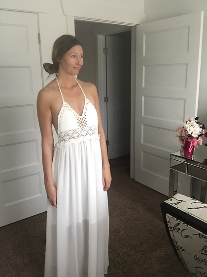 Cindy Batchelor - Amazon Crochet Halter Top White Maxi Dress .