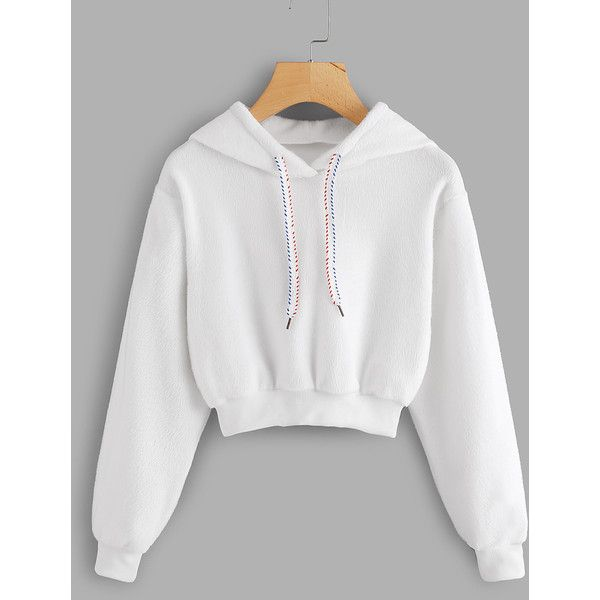 Faux Fur Drawstring Crop Hoodie (485 PHP) ❤ liked on Polyvore .