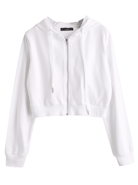 Drawstring Zip Up Cropped Hoodie in 2020 | Cropped hoodie, Cropped .