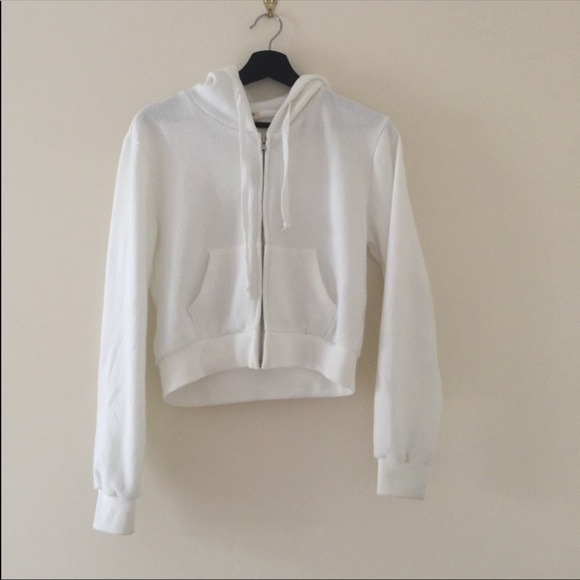 Brandy Melville Tops | White Crystal Cropped Hoodie | Poshma