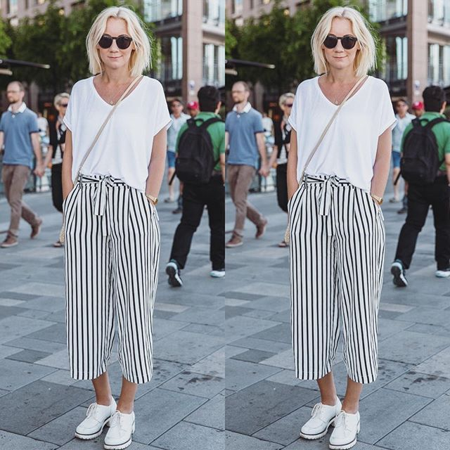 STILPÅBRYGGA Striped culottes and a white tee - this feels like .