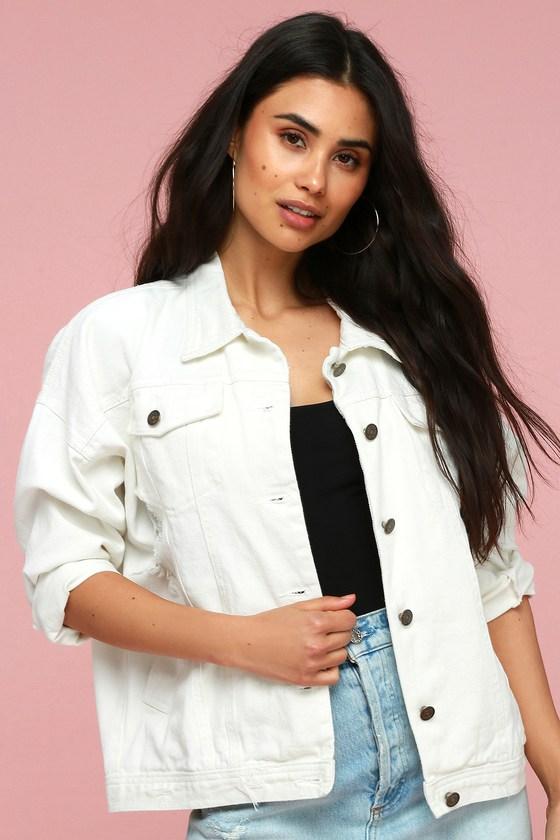 White Denim Jacket - Oversized Distressed Denim Jack