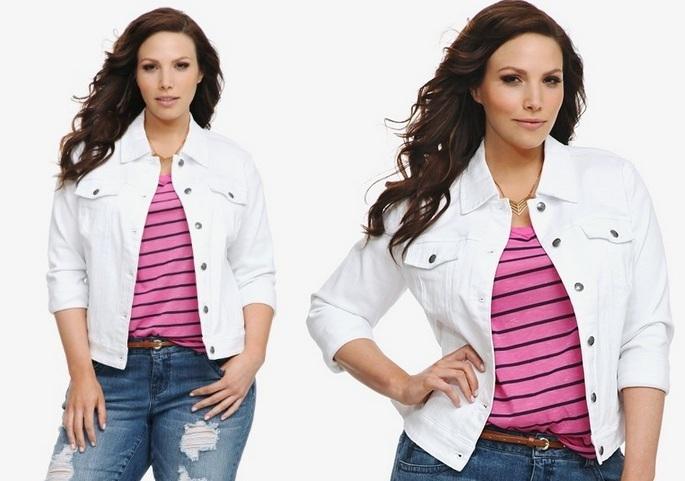 Plus Size Denim Jacket for Fashionable Style White plus size denim .