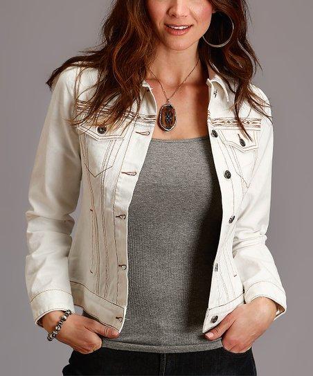 Stetson Off-White Denim Jacket - Women | Zuli
