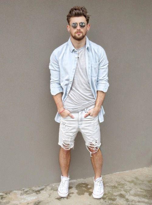 Men's Light Blue Denim Shirt, Grey Crew-neck T-shirt, White Denim .