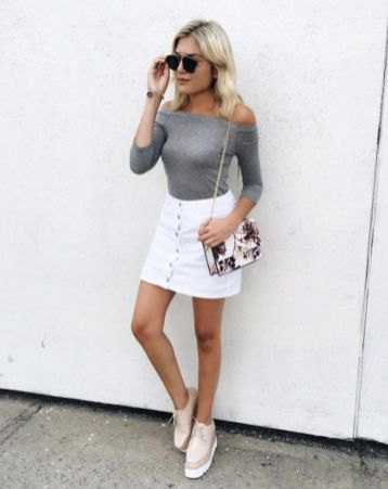 15 Refreshing & Stylish White Denim Skirt Outfit Ideas - FMag.c