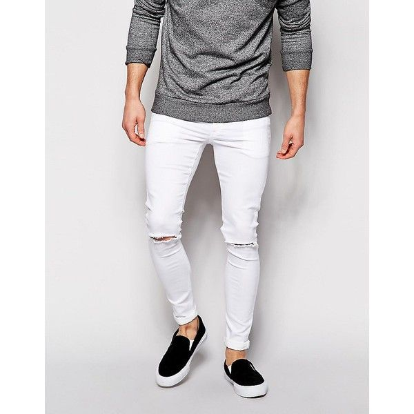 ASOS Extreme Super Skinny Jeans With Knee Rips ($17) ❤ liked on .