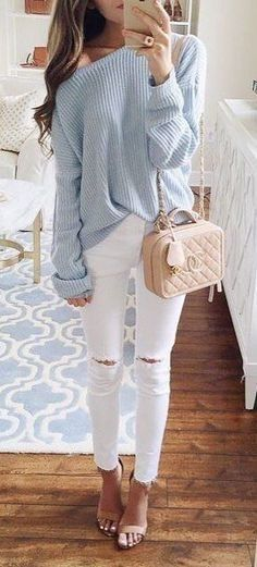 winter #outfits blue sweater and white distress jeans outfit .
