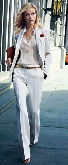 30 Best White Pant Suit images | Fashion, White suits, Sty