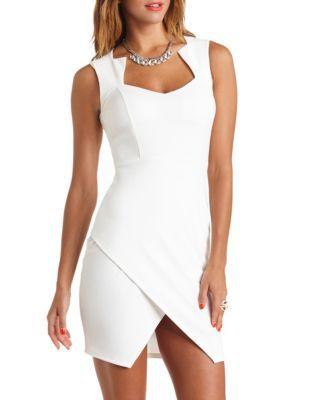 Textured envelope-skirt bodycon dress | Dresses, Bodycon dress .