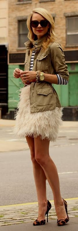 Outfit ideas. Army/ fiel shirt. Striped top. White feather Skirt .