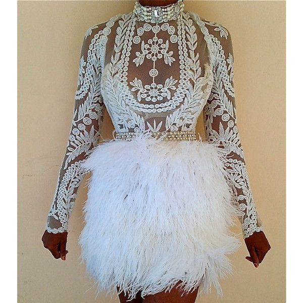 Custom White Embroidery Lace Sheer Tunic & Full Ostrich Feather .