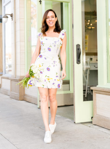 Sydne Style shows cute outfit ideas in white sneakers with forever .