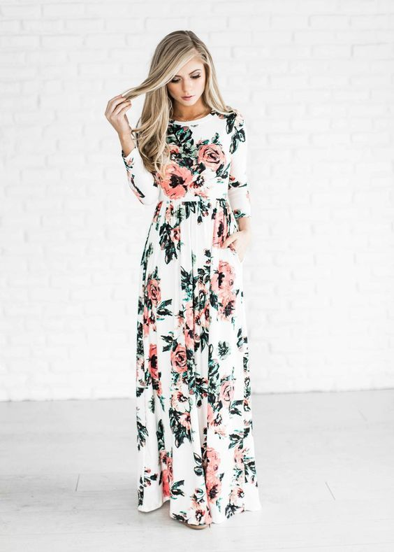 Beautiful Floral Outfit Ideas Trending 2017 | Maxi dress with .