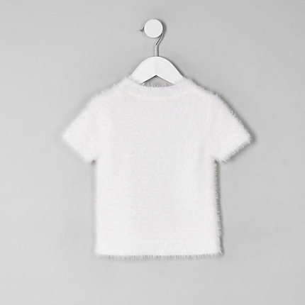 Mini girls white fluffy knit T-shirt | Fashion, How to wear, Style .