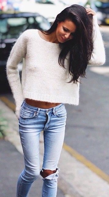 white fuzzy sweater with ripped light denim // perfect simple fall .