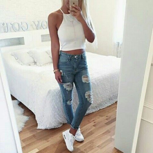 white halter top + distressed denim | Fashion, Clothes, Outfi