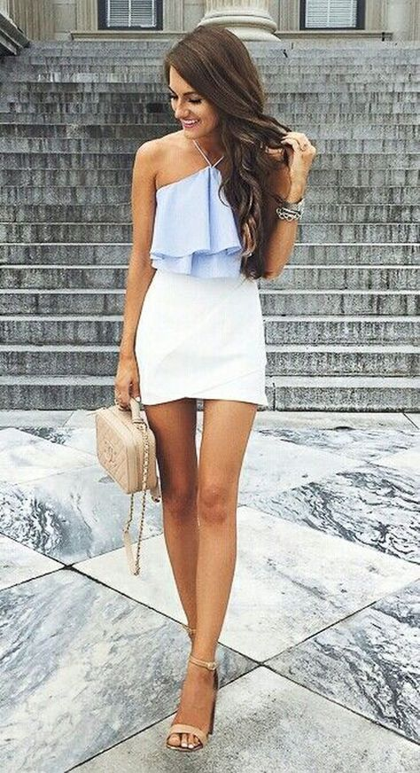 Summer #Outfits / Light Blue Halter Top + White Pencil Skirt .