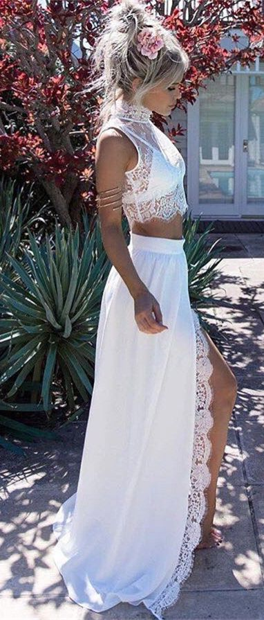 Two Piece High Neck Sweep Train White Chiffon Prom Dress with Lace .