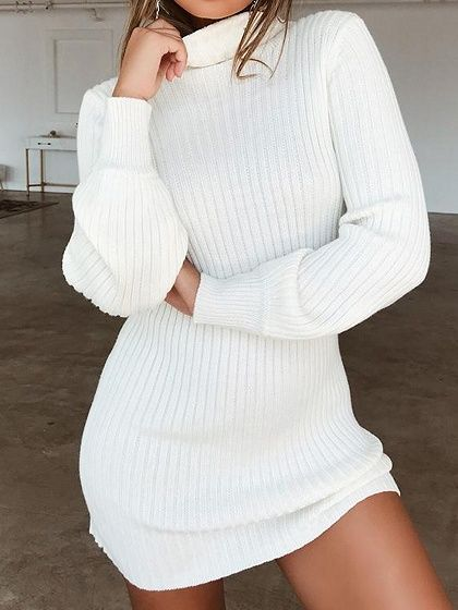White Ribbed High Neck Long Sleeve Chic Women Bodycon Mini Dress .
