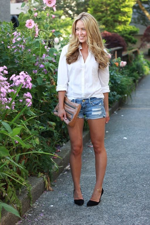 Denim Shorts and a White Shirt: 15 Women Who Nail the Classic .