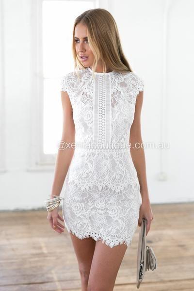 Women Dresses | White lace dress short, Short lace dress, Dress